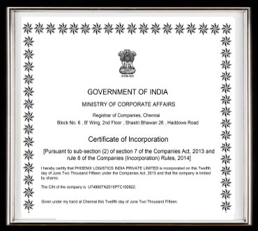 Phoenix Logistics Pvt Ltd : Certifications